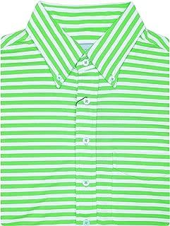 """Mens Short Short Sleeve 2 Color """"Bold Stripe"""" Pique SELF Collar, Left Pocket - Keylime/Cream"""