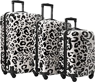 kensie Women's Print Pattern Hardside 3-Piece Spinner Luggage Set, Leopard Spots, (20/24/28)