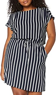فستان ساشا بالي قصير باكمام قصيرة للنساء من فيرو مودا بلون نافي بليزر/الخطوط: كوكو، مقاس L، متوافر بشكل دائم