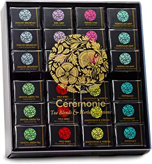 Ceremonie Tea Variety Pack - Premium Kosher Tea Set with Wooden Serving Display Tray - Wrapped Individually in Silky Mesh Bags | Herbal Tea Boxes Gift Set - 8 Flavors (6 Cubes Each)