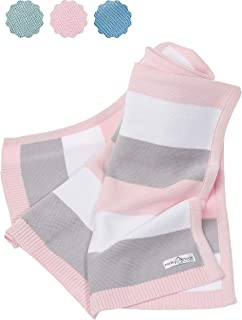 Babydecke aus 100% Bio Baumwolle - kuschelige Strickdecke ideal als Baby Decke, Erstlingsdecke, Wolldecke oder Baby Kuscheldecke in rosa/grau/weiß für Mädchen