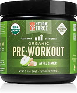 Organic Pre Workout – Apple Ginger *Best Preworkout Powder for Energy and Focus* Creatine Free Natural Supplement to Burn ...