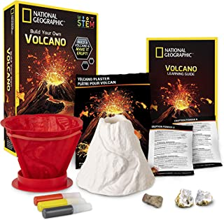 National Geographic Volcano Science Kit – Build an Erupting Volcano with this Volcano Kit for Kids, Multiple Eruption Expe...