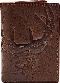 HOJ Co. DEER Trifold Wallet-Mens Leather Wallet-Full Grain Soft Nappa Leather-Deer Wallet-Hunter Gift