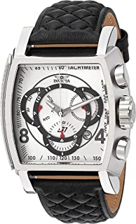Invicta Men's S1 Rally Stainless Steel Quartz Watch with Leather-Synthetic Strap, Black, 26 (Model: 27918)