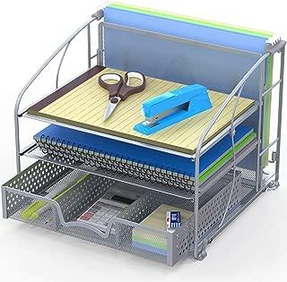 SimpleHouseware Desk Organizer 3 Tray w/Sliding Drawer and Hanging File Holder, Silver
