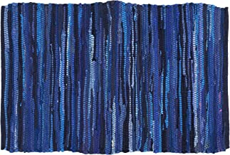 100% Cotton Rag Rug 24x36 - Multicolor Chindi Rug - Hand Woven & Reversible for Living Room Kitchen Entryway Rug - Navy