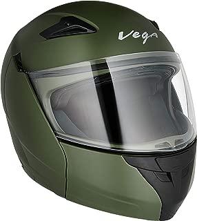Vega Boolean Dull Battle Green Flip-up Helmet-M