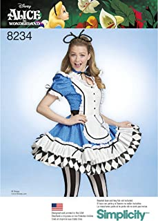 Simplicity 8234 Alice In Wonderland Halloween and Cosplay Costume Sewing Pattern, Sizes 6-14