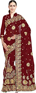 Sourbh, Women's Heavy Embroidery Bridal/Wedding Wear Saree, Red, Free Size