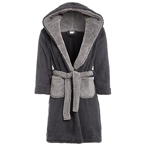 bc12d0f0cc Slumber Hut® Luxury Boys Fleece Hooded Dressing Gown Warm Shaggy Snuggle  Childrens Robe - Navy