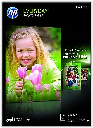 HP Q2510A Evertday Glossy Confezione da 100 Fogli di Carta Fotografica Lucida Originale, Compatibile con Stampanti a Getto di Inchiostro, 21 x 29.7 cm, A4, Grammatura 200 g/m², Bianca