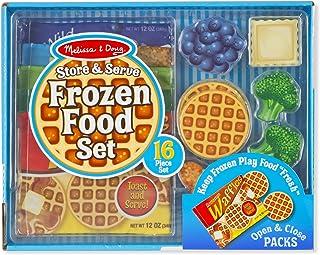 فروشگاه Melissa & Doug و کیسه های پارچه ای با مواد غذایی منجمد با مواد غذایی چوبی بازی را سرو کنید.