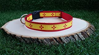 Zia New Mexico Red Dog Collar, Zia Collar, Red And Yellow Zia Dog Collar, 1 Inch, New Mexico Flag Collar, Adjustable Dog Collar
