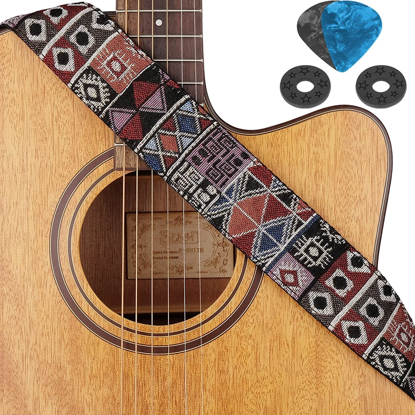 Guitar Strap for Electric Acoustic Bass Guitars Jacquard Weave Strap Woven Hootenanny Vintage Pattern With Leather Ends for Kids Adult,Pick Pocket,Picks, Strap Blocks