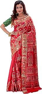 SareesofBengal Women's Katan Silk Meenakari Baluchari/Swarnachari Saree Tomato Red
