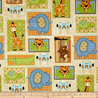 A.E. Nathan Comfy Flannel Jungle Blocks Multi Fabric by The Yard, Multicolor