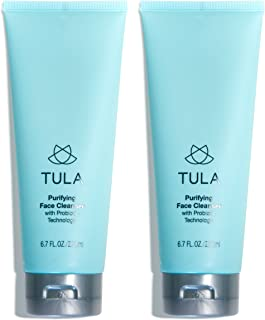 TULA Probiotic Skin Care Purifying Face Cleanser (Pack of 2) | Gentle and Effective Face Wash, Makeup Remover, Nourishing and Hydrating | 6.7 oz x 2