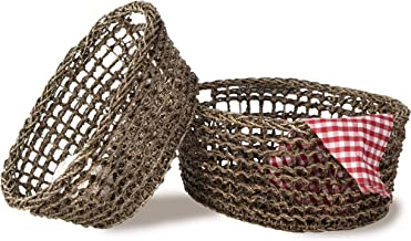 MadeTerra Set of 2 Oval Nesting Wicker Woven Storage Basket Bins, Decorative Organiser Baskets for Living Room, Bathroom, ...
