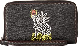COACH Keith Haring Pebbled Leather Phone Wallet,Black