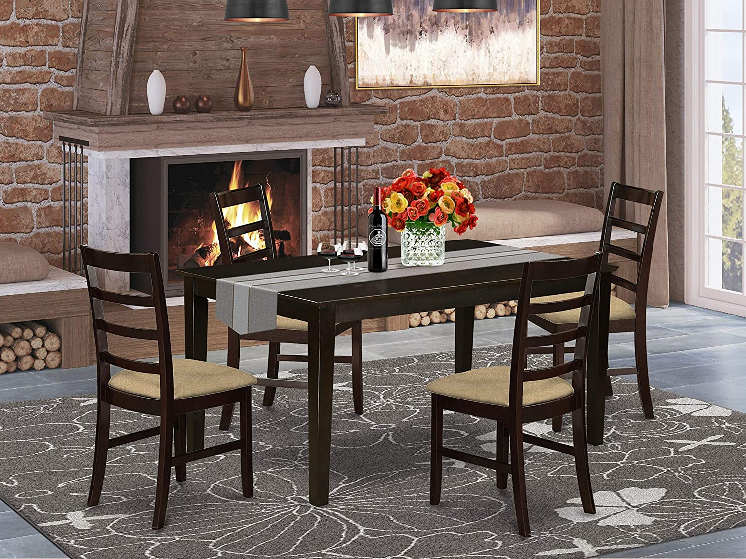 East West Furniture CAPF5-CAP-C Kitchen Set 5 Piece-Linen Fabric Dining Chairs Seat-Cappuccino Finish Wood Table and Frame
