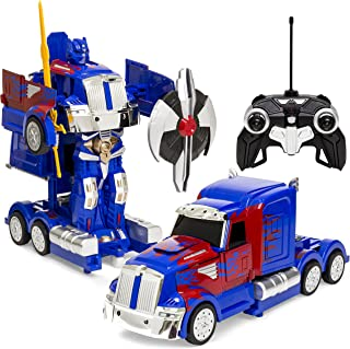 Best Choice Products 27MHz Transforming RC Truck Robot w/ Music, Sword and Shield, Blue/Red