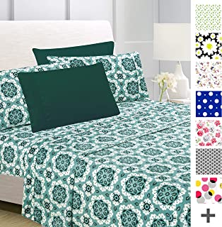American Home Collection Deluxe 6 Piece Printed Sheet Set of Brushed Fabric, Deep Pocket Wrinkle Resistant - Hypoallergenic (King, Forest Green Mandala)
