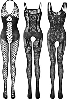 3 Pieces Women's Lace Stockings Lingerie Floral Fishnet Bodysuits Lingerie Nightwear for Romantic Date Wearing