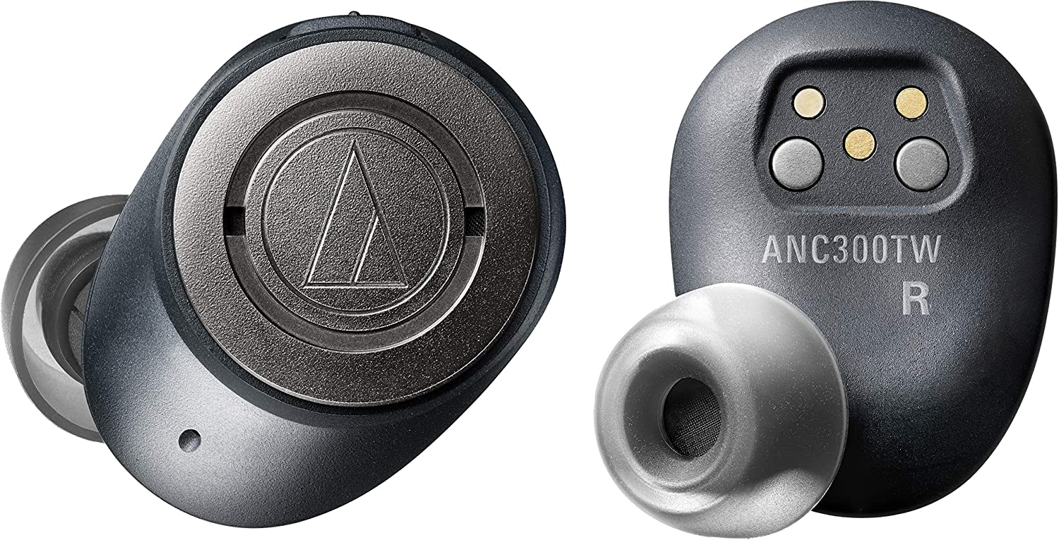 Audio-Technica ATH-ANC300TW QuietPoint Wireless Active Noise-Cancelling in-Ear Headphones, Black