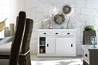 NovaSolo Halifax Pure White Mahogany Wood Sideboard Dining Buffet With Storage : Sliding Doors And 3 Drawers
