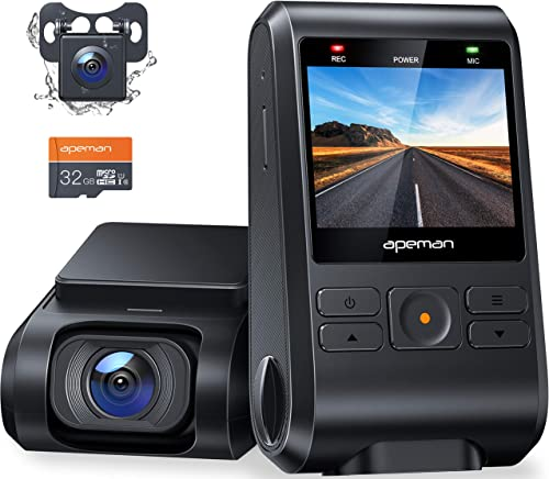 APEMAN Dash Cam, Front and Rear Camera for Cars FHD 1080P 170° Wide Angle Support GPS, Motion Detection, Night Vision...