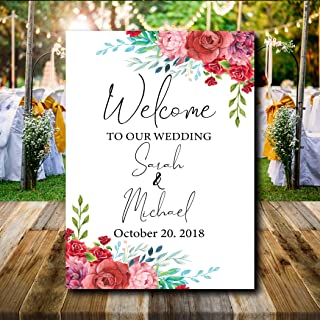 Dozili Floral Wedding Welcome Sign Colorful Flower Welcome Sign Rustic Shabby Chic Sign for Wedding Large Personalized Wedding Sign
