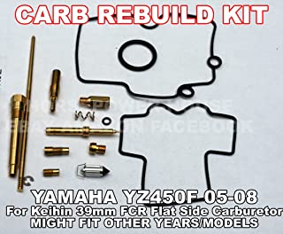 NOT FOR DRZ400 or some KTM models - Carb Carburetor Rebuild Kit with O-Ring Gasket 160 Main 45 Pilot Slow 55 Leak Jet Needle Clip Spring and more for Keihin 39mm FCR 39 MX Motocross Racing MX Carb fits Yamaha YZ450F 05 06 07 08 and Possibly Other Brands and Models with Similar Carburettor Carborator
