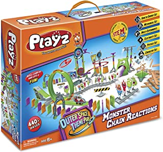 Playz Skylab Adventure Monster Chain Reactions Marble Run Science Kit STEM Toy with Race Tracks for Boys & Girls, Kids Rol...