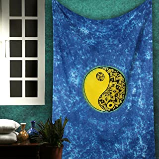The Indian Craft Bohemian Yellow Chakra Tapestry - Twin Yin Yang Hippie Room Decor Psychedelic Gypsy Wall Hanging Cotton Boho Mandala Tapestries - Blue - 84 x 54 inches