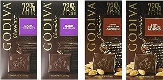 Godiva Chocolatier, 2 Variety Pack,3.5 Oz Each, 2 of Each : 72% Dark Chocolate, 72 % Dark Chocolate Almond (Pack of 4)