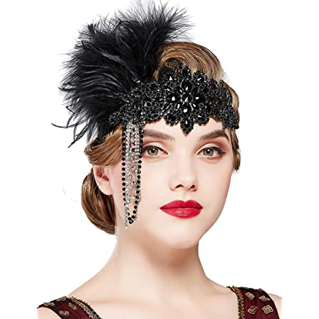 Flapper feather headband Holiday headdress Headband with feather Great Gatsby headpiece Flapper girl headpiece Burlesque headband