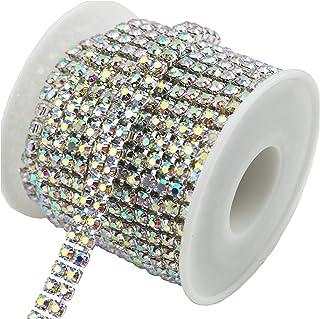 AEAOA 3 Feet 1 Yard 2 Rows Ss16 4mm Close Rhinestone Chain Trims Cup Chain Wedding Cake (Silver+AB Crystal)