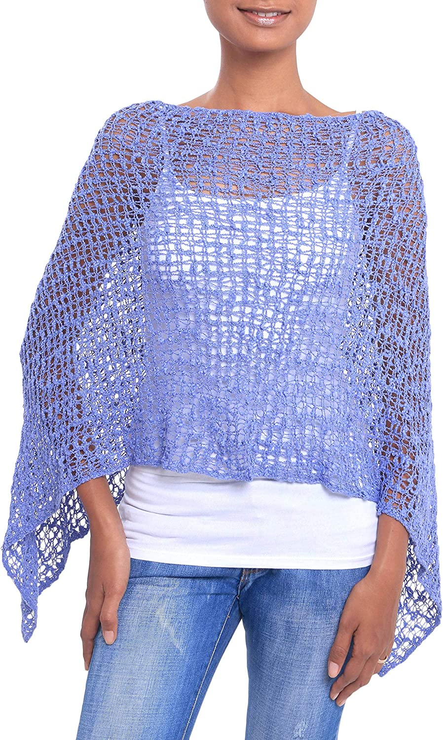 NOVICA Blue 100% Cotton Spasm price Poncho Shade in Directly managed store Blue' Sanur Cadet
