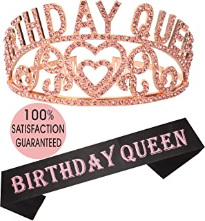 Birthday Girl Sash and Tiara Pink   Birthday Queen Sash and Crown   Happy Birthday Party Supplies  Favors, Decorations 13th, 16th, 21st, 30th, 40th, 50th, 60th, 70th, 80th, 90th Birthday Pink