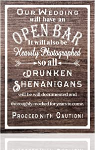 Jetec Open Bar Wedding Sign Wedding Party Sign Funny Wood Bar Sign for Your Reception Party Hanging Wooden Rustic Farmhouse Decoration for Wall Wedding Decoration for Guest
