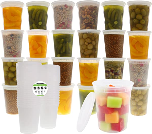 Freshware Food Storage Containers With Lids 24 Pack 32oz Plastic Containers Deli Slime Soup Meal Prep Containers BPA Free Stackable Leakproof Microwave Dishwasher Freezer Safe