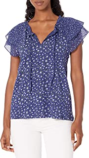 Lucky Brand Women's Flutter Sleeve Printed Notch Neck Top