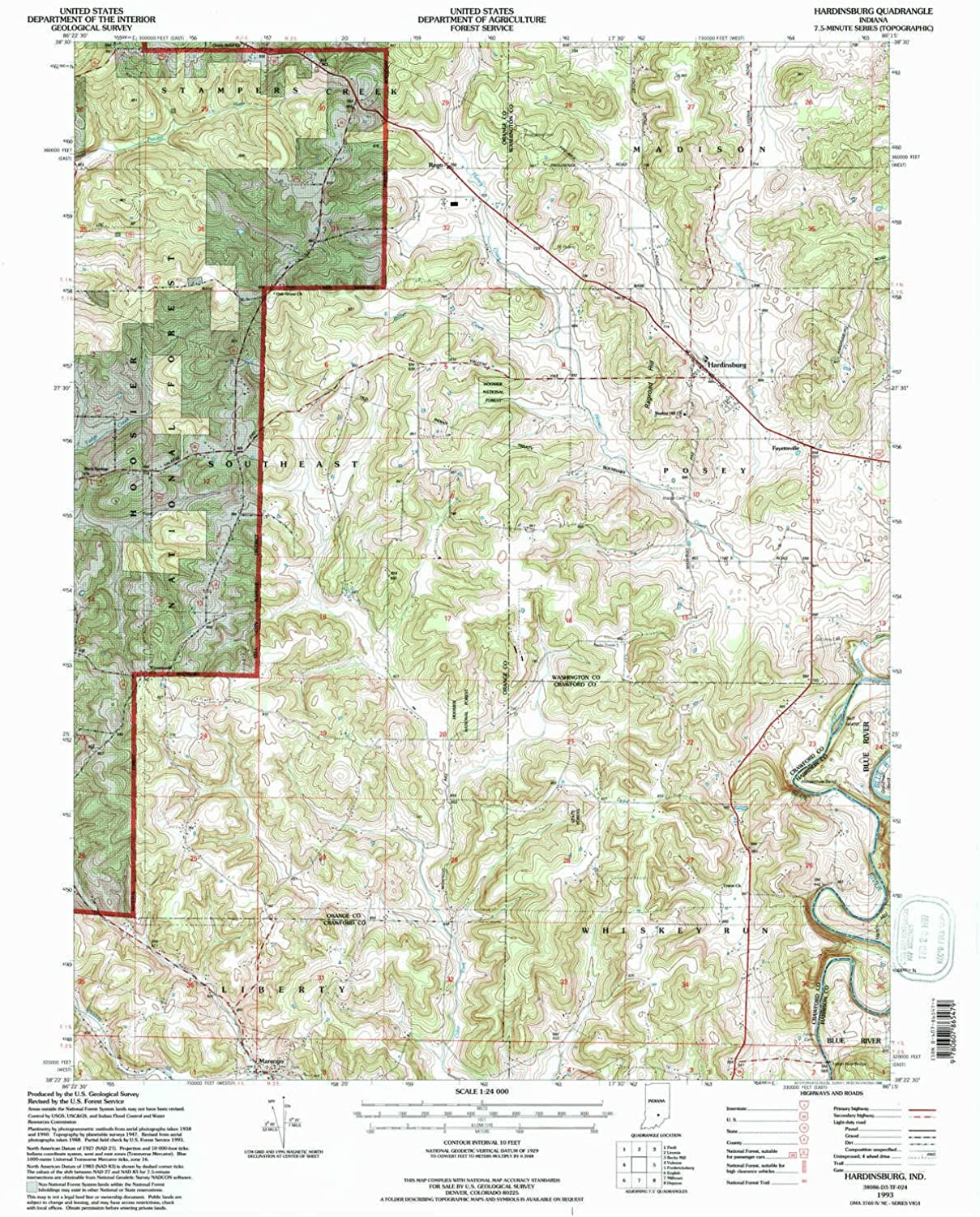 Hardinsburg in topo map, 1 24000 Scale, 7.5 X 7.5 Minute, Historical, 1993, Updated 1996, 27 x 22.1 in