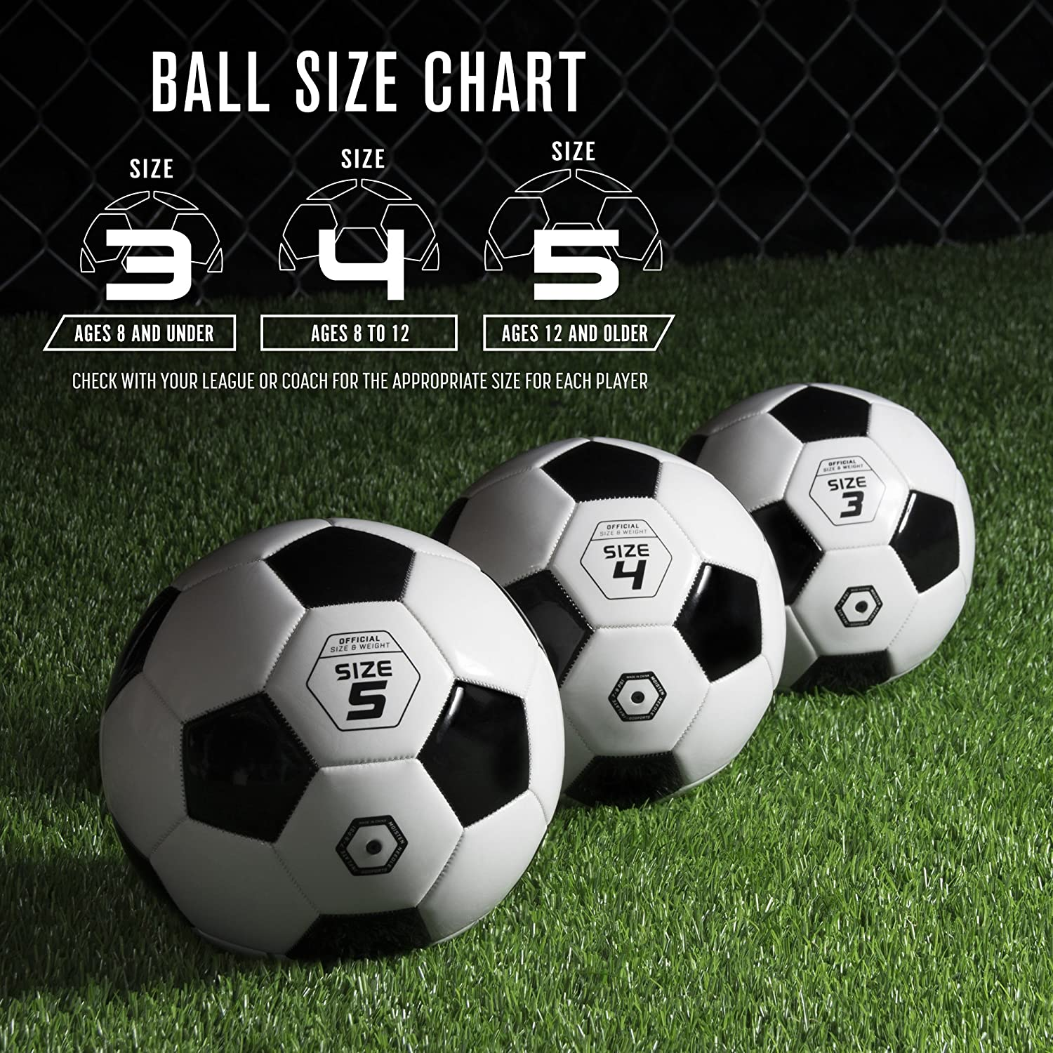 Choose Your Size GoSports Classic Soccer Ball with Premium Pump Available as Single Balls or 6 Packs