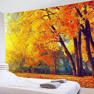 LB タペストリー 自然風景 秋の木 金色の葉 おしゃれ 壁掛け 田舎風 秋色 インテリア ファブリック装飾品 モダン 多機能 リビング 寝室 窓 個性ギフト 新居祝い 布 150x100cm