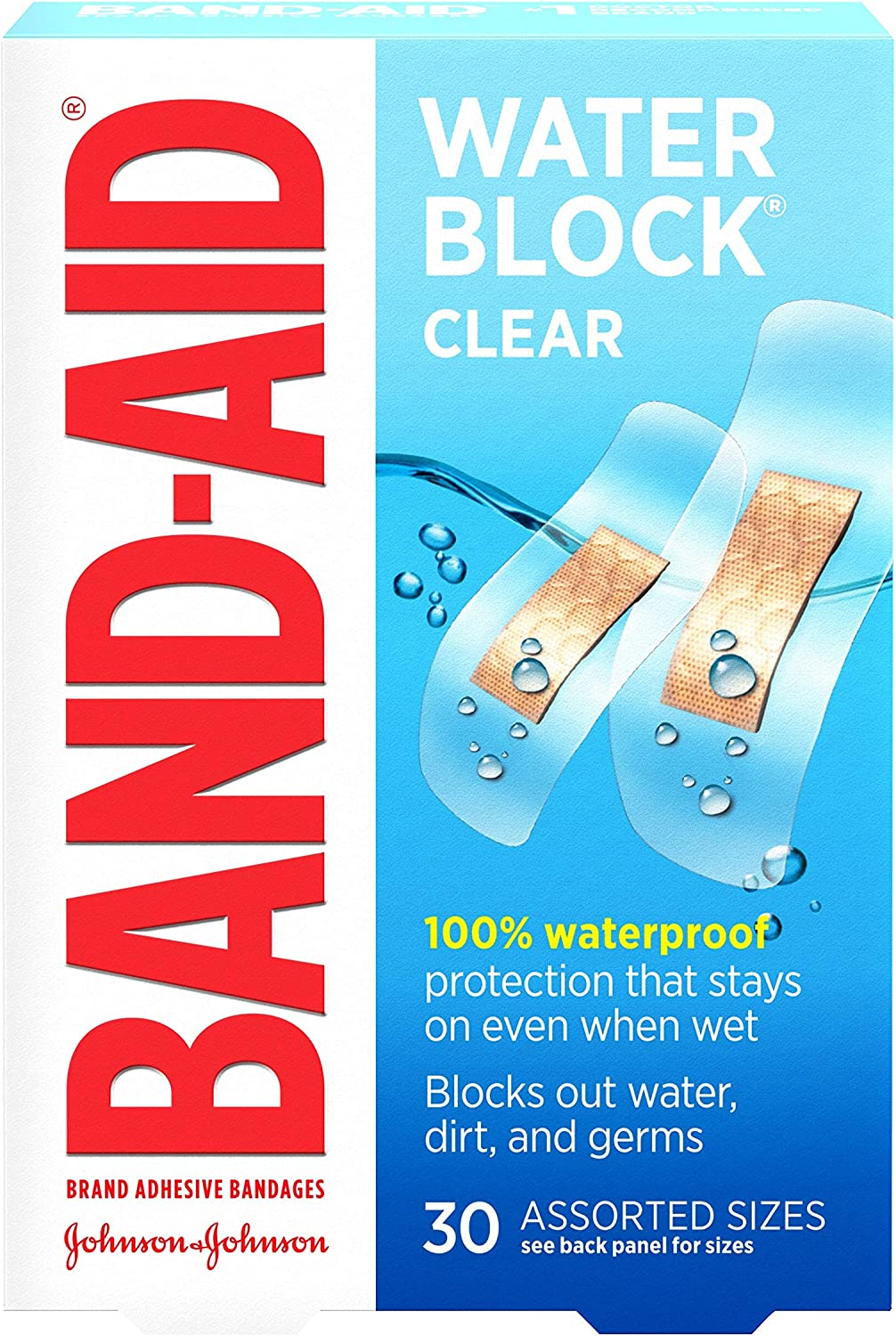 BAND-AID CLR WATER Max 82% OFF BLOCK ASSORTED EACH In a popularity Band-Aid by 30