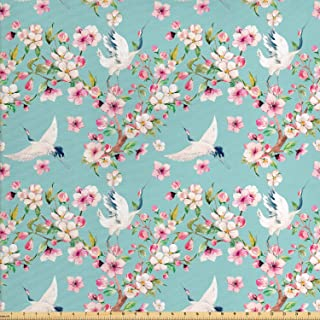 Ambesonne Flowers Fabric by The Yard, Watercolor Art Style Flying Crane Birds with Pink Sakura Cherry Blossoms Exotic, Decorative Fabric for Upholstery and Home Accents, 2 Yards, Seafoam Pink
