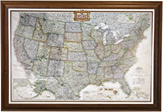 Push Pin Travel Maps Executive US with Brown Frame and Pins 24 x 36