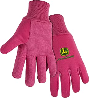 West Chester John Deere JD00003 Knit Polyester/Cotton All Purpose Work Gloves with Dotted Palms: Pink, Women's One Size Fits Most, 1 Pair